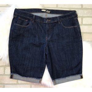 Old Navy The Flirt Dark Wash Bermuda Jean Shorts